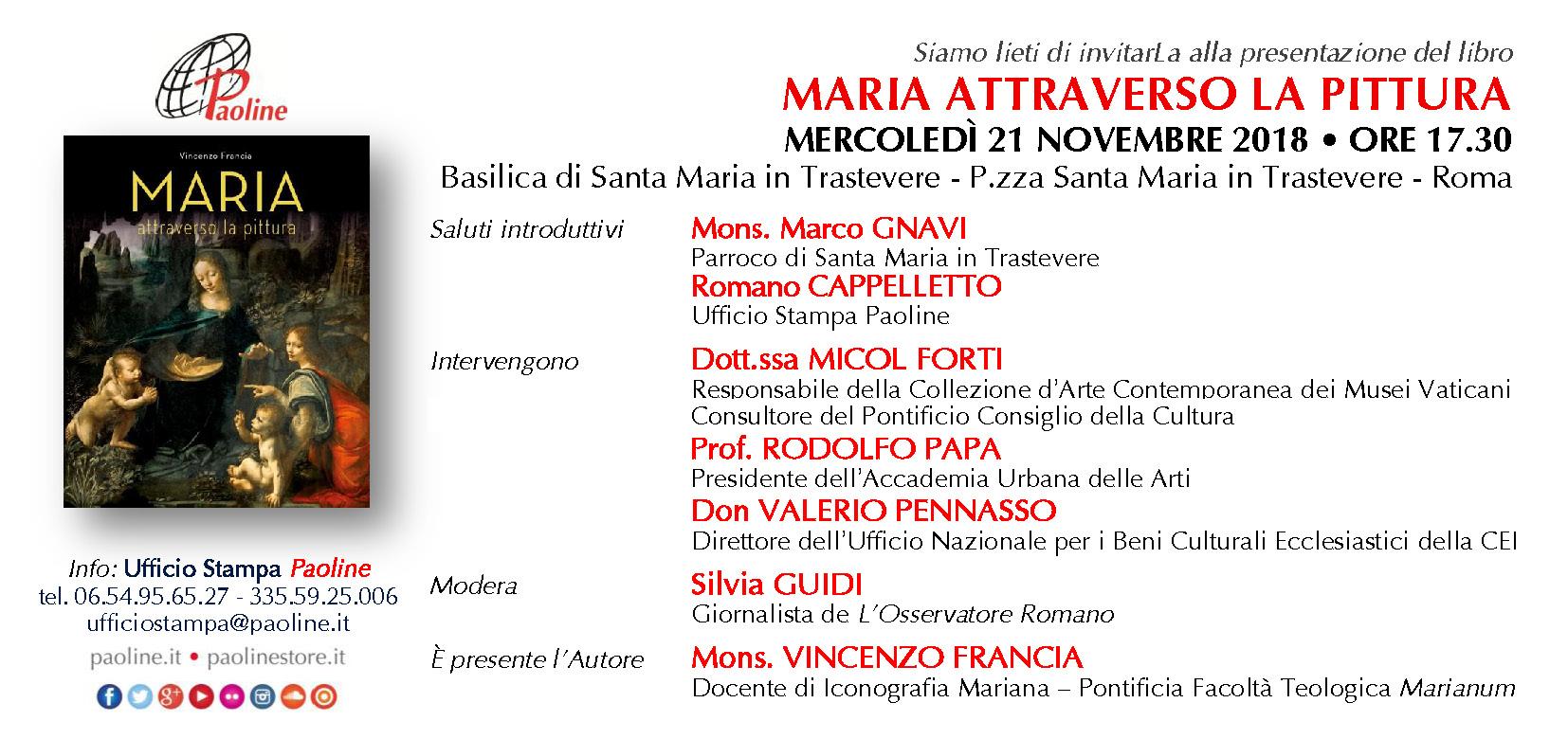 invito presentazione libro MARIA ATTRAVERSO LA PITTURA - Roma 21 novembre 2018